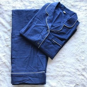 UNIQLO Navy long sleeve cotton piping pajamas